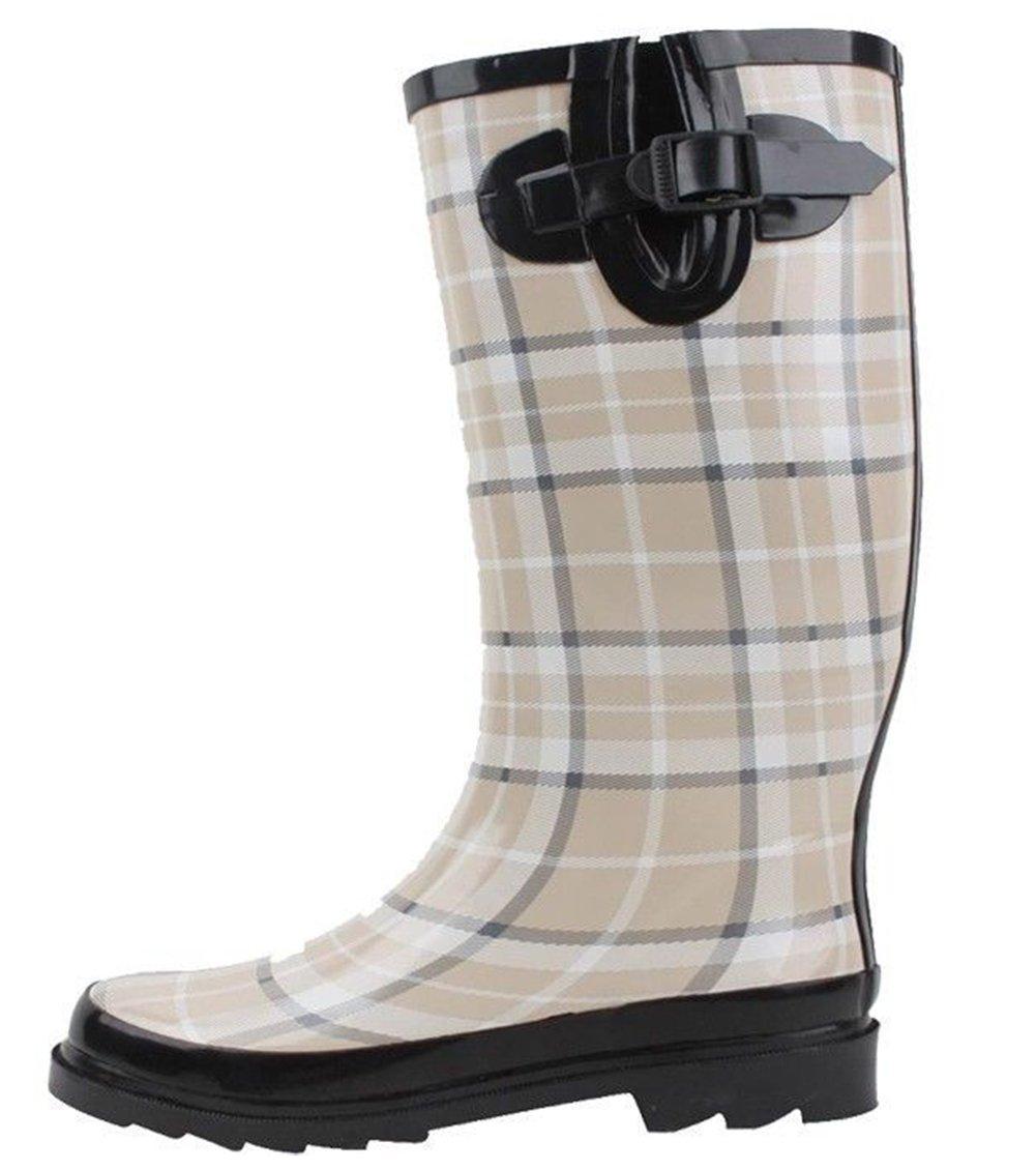 SBC Women's Rain Boots Adjustable Buckle Fashion Mid Calf Wellies Rubber Knee High Snow Multiple Styles (8 B(M) US, Beige Plaid)