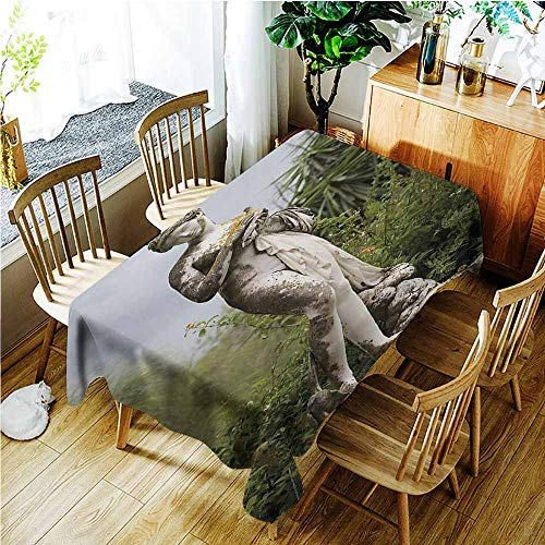 (Tablecloth,Sculptures Sculptured Figure Greenery on The Grounds of Achillion Palace Corfu Island,High-end Durable Creative Home,W54x72L,Green Beige)