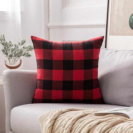MIULEE Classic Retro Checkers Plaids Cotton Linen Soft Soild Decorative Square Throw Pillow Covers Home Decor Design Cushion Case for Sofa Bedroom Car 12 x 20 Inch 30 x 50 cm