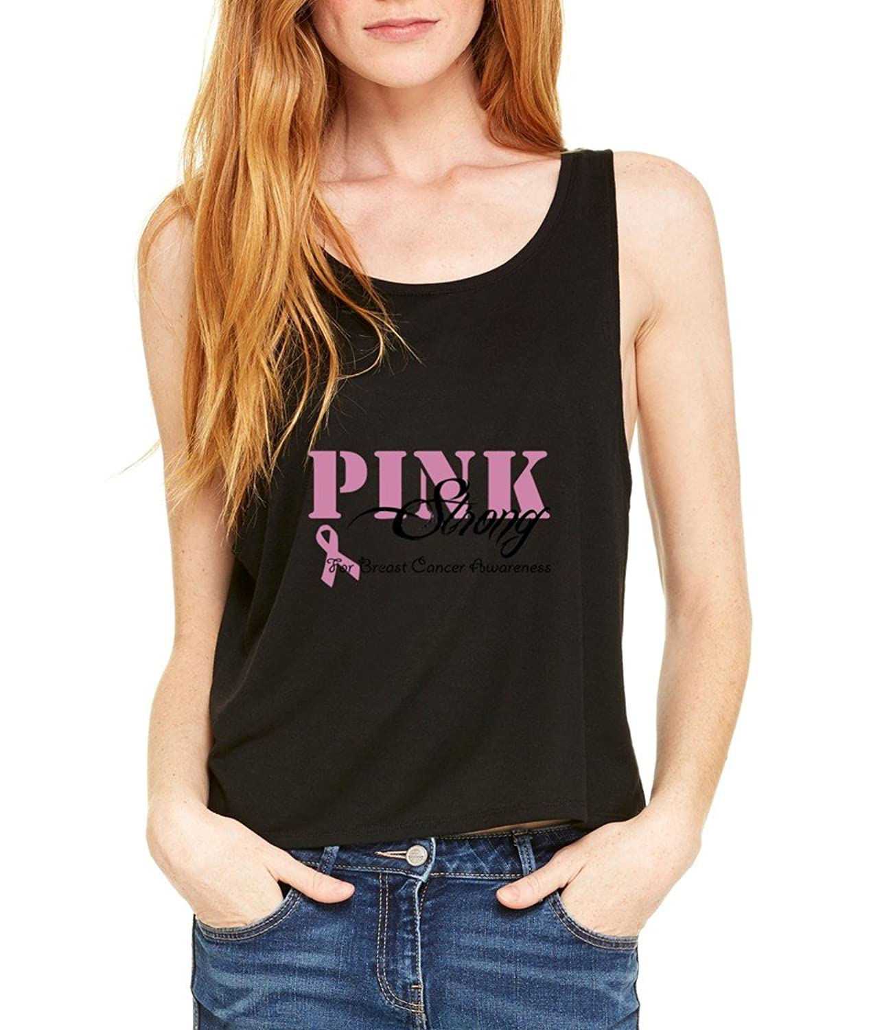 Together We Are Strong Pink Boxy Tank Top Breast Cancer Awareness Flowy Shirt Large/XL Black b23