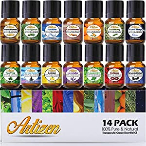 Artizen Aromatherapy Top 14 Essential Oil Set (100% PURE & NATURAL) Therapeutic Grade Essential Oils – All of Our Most Popular Scents and Best Essential Oil Blends