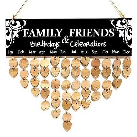 Familie Freunde Geburtstagskalender Erinnerung Holz Kalender zum Aufhängen DIY