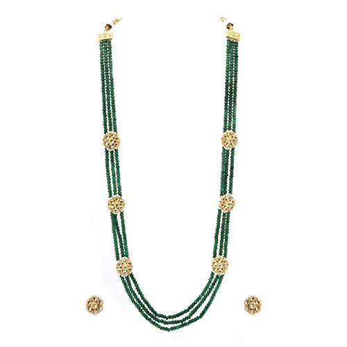 Color Lane Fashion One of a Kind Jade Glass Kundan Juego de Collar ...