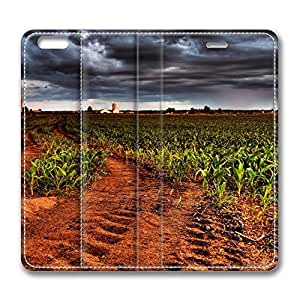 iPhone 6 4.7inch Leather Case - Corn Plantation Hdr Fashion Luxury Protective Slim Fit Skin Leather Cover For Iphone 6 [Stand Feature] [Slim - fit] Flip Leather Case Cover for New iPhone 6