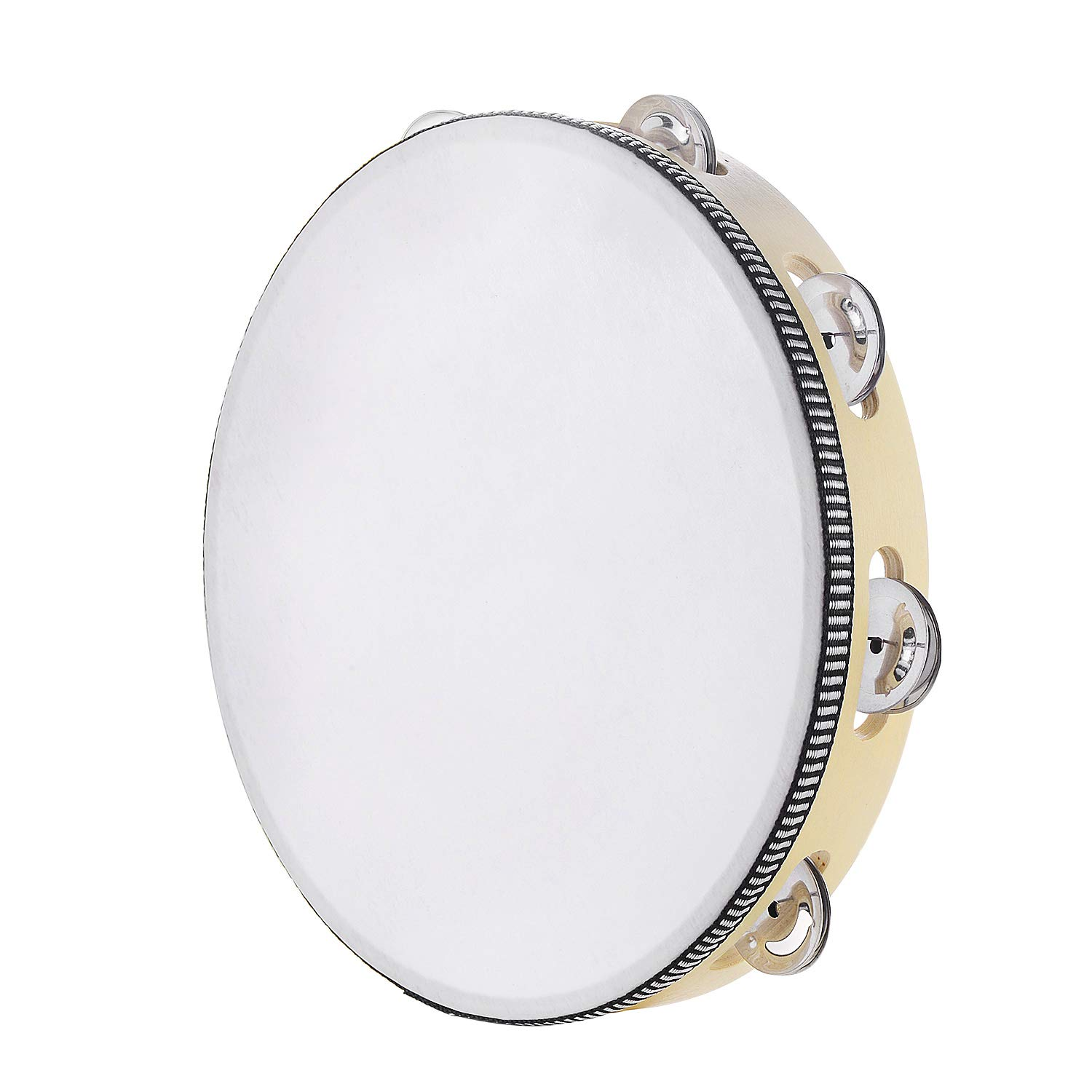 Tambourine for adults 10 inch Hand Held Drum Bell Birch Metal Jingles Percussion Gift Musical Educational Instrument for Church KTV Party (10 inch)