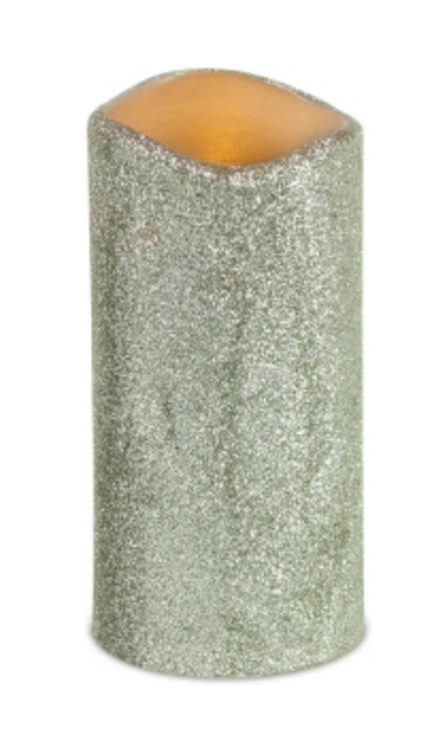 6 Silver Glittered Battery Operated LED Flameless Wax Pillar Candles 3'' x 6'' by CC Christmas Decor