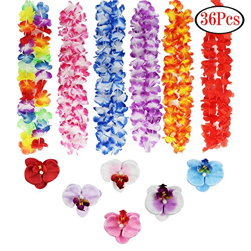 LoveS 18pcs Hawaiian Ruffled Flower Leis and 18pcs Hawaiian Flower Hair Clips for Beach Theme Party, Birthday -