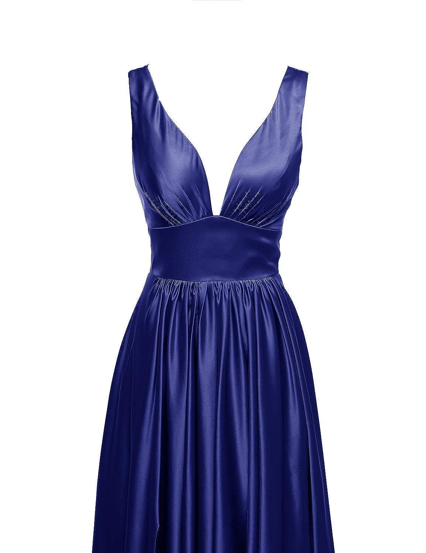 Couner A-Line Evening Dress Sleeveless Long Bridesmaid Dress with Split