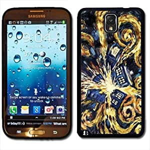 Samsung Galaxy Note 3 Black Rubber Silicone Case - Dr Who Tardis Phone Booth Van Gogh Painting Police Blue Call Box