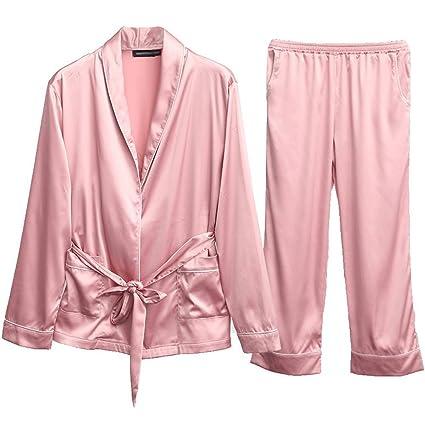 Traje de Manga Larga Sweet Sexy Tie Rope Pyjamas Ladies HUXIUPING (Color : Pink,