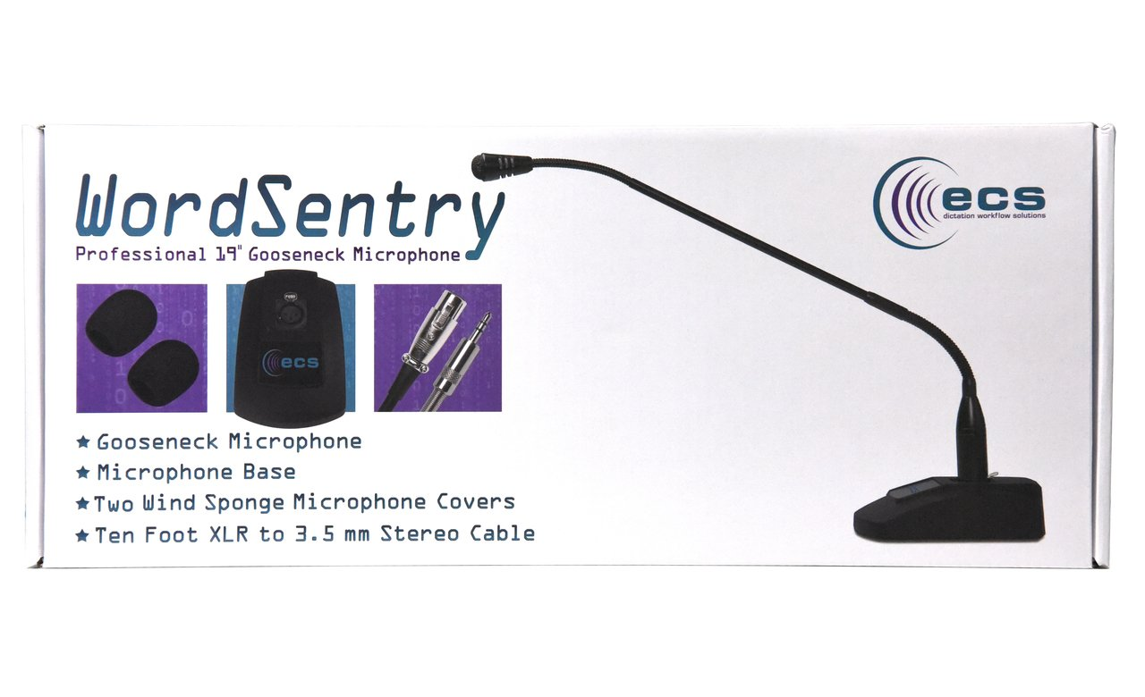 WordSentry 3.5 mm Pathology Dictation Professional Gooseneck Conference Microphone for Laboratory