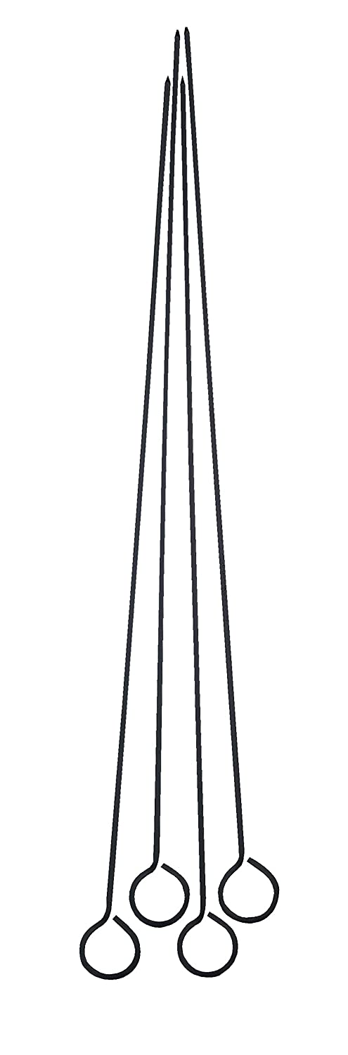 Set of 4 15 Inch Harold Import Co 15-Inches Long 43113 HIC Reusable Nonstick Barbecue and Grilling Shish Kabob Skewers with Ring-Handle Top Black