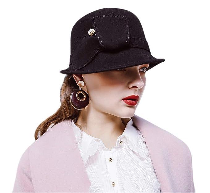 29fafcebfe4 Felt Bowler Hat wiht Pearl Vintage Wool Winter Fedora Hat up Brim Cloche Hat  Derby  Amazon.co.uk  Clothing