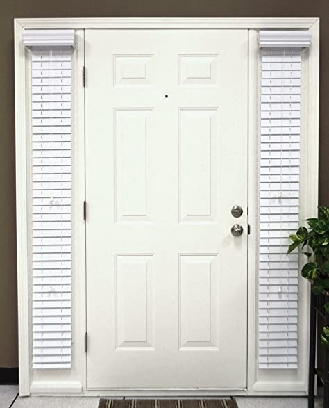 Faux Wood Sidelight Blinds For Doors 2 Inch Slats Snow White Outside Mount  1 Pair/