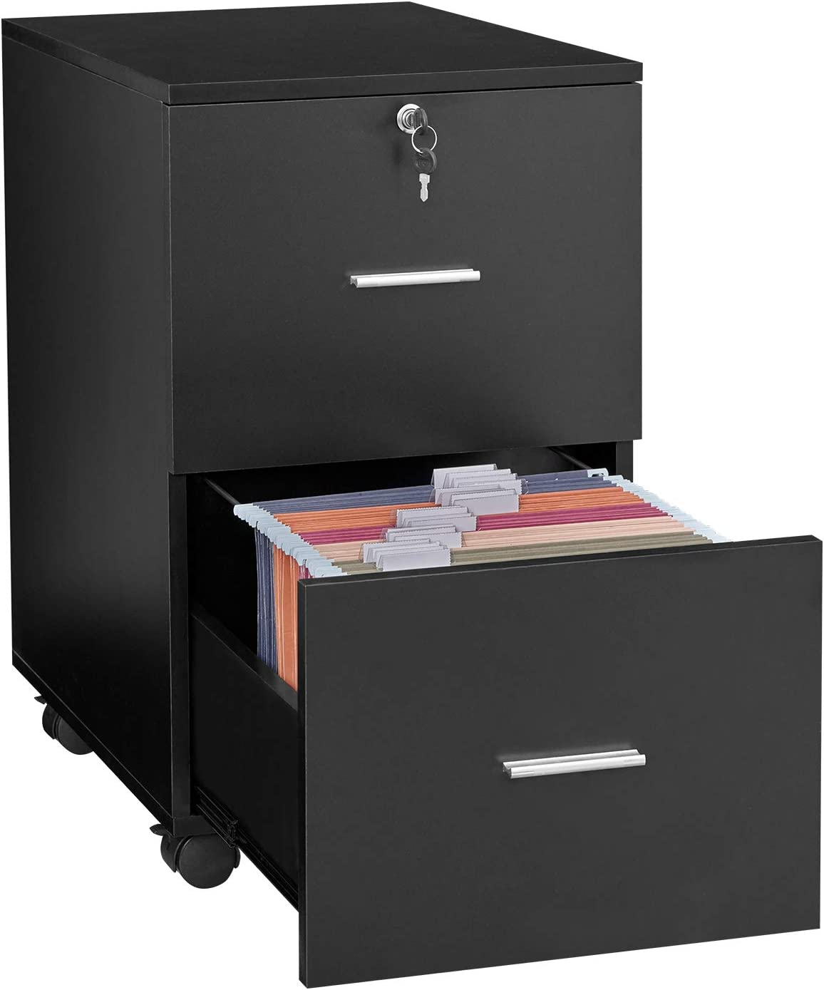 GreenForest 2 Drawer File Cabinet Wooden Vertical Filing Cabinet with Lock and Wheels for A4 or Letter Size Hanging File Folders, Black