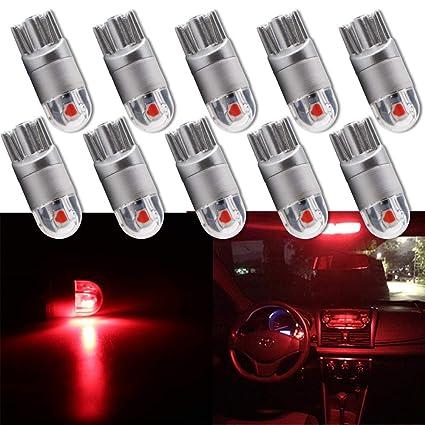 Grandview 10pcs Rojo T10 501 LED Bombilla 2-SMD 3030 W5W 194 168 2825 Cuña T10 Luz Interior del Coche Dashboard Bombilla Luz de maletero lateral Luz ...
