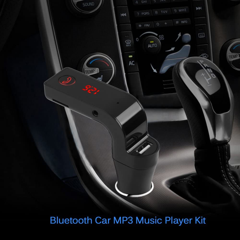 Polarlander 4-in-1 Car Kit MP3 Player Hands Free Wireless Bluetooth FM Transmitter G7 AUX Modulator SD USB LCD Car Accessories Black