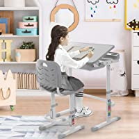 [USA Fast Shipment] Children Desk, Adjustable Children Desk Chair Set Kids Study Table Set Childs Tilted Desk School Student Writing Desk Pull Out Drawer Storage,Pencil Case, Bookstand (Grey)