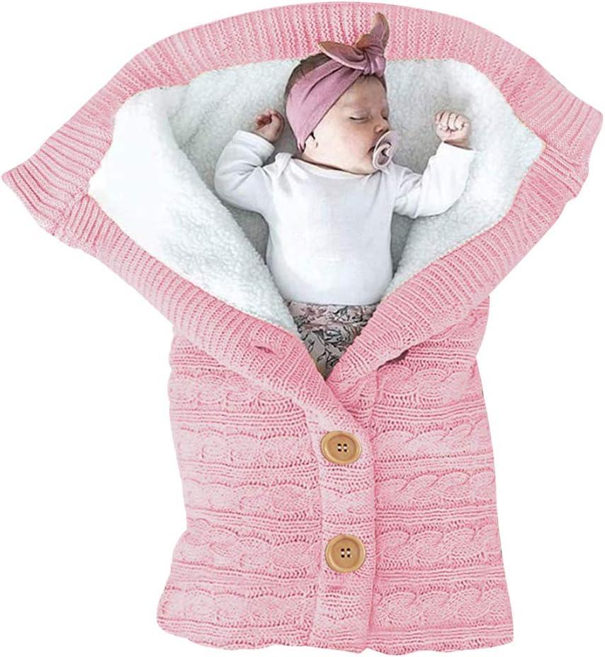 ベビーおくるみ ベビー寝袋 新生児用おくるみ 赤ちゃん 肌触りいい ベビーカーに お出かけ ニットとウール製 あったかい 寒さ対応 出産祝い (ピンク)
