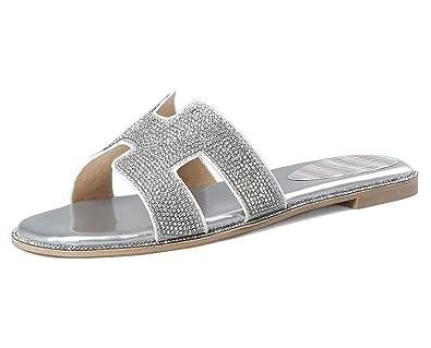 YE Damen Offene Mules Flach Pantoffen Outdoor Slipper mit Glitzer Strass Bequem Sommer Schuhe
