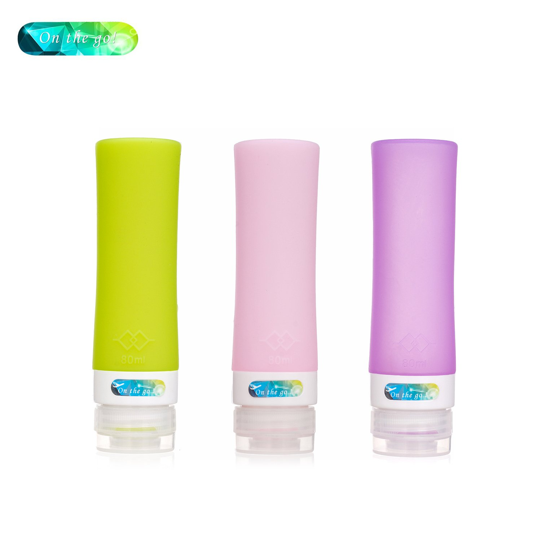 On The Go Silicone Travel Bottle Set Shampoo Conditioner Bottle Leak Proof Design Silicone Travel Bottles (Pillar 2.8OZ)