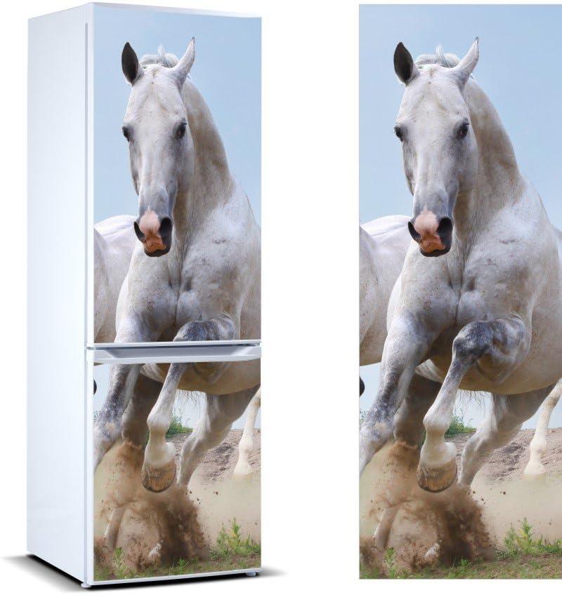 Vinilo para Frigorífico Caballo Blanco | Varias Medidas 185x60cm | Adhesivo Resistente y de Fácil Aplicación | Pegatina Adhesiva Decorativa de Diseño Elegante