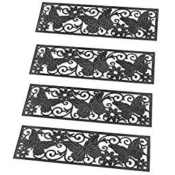 Decorative Butterfly Scroll Heavy Duty Rubber Non Skid Stair Treads, Set of 4, Black, Rubber