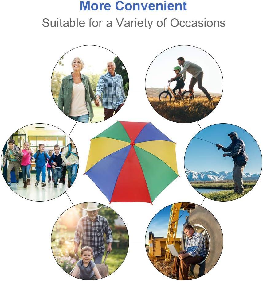 Camping Gardening Photography Walking VGEBY1 Umbrella Hat Sun Rain Rainbow Umbrella Cap Hands Free Headwear for Fishing