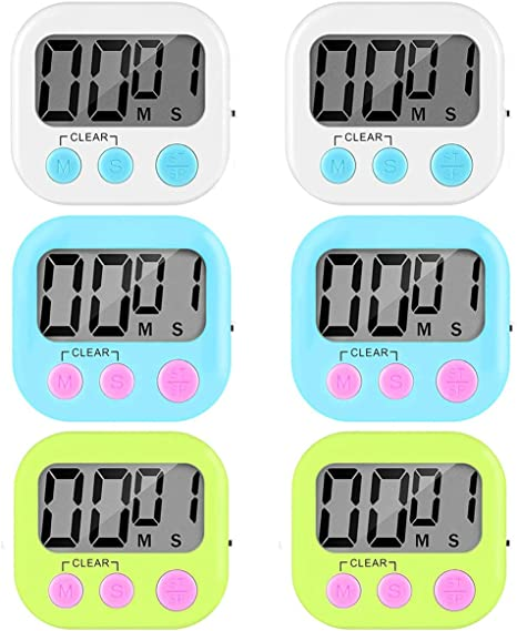 Amazon Com 6 Pack Digital Kitchen Timer Cooking Timer Loud Alarm Large Display Strong Magnet Back On Off Switch And Count Up Countdown Timers For Kids Baking Exercise Game 2 White And 2