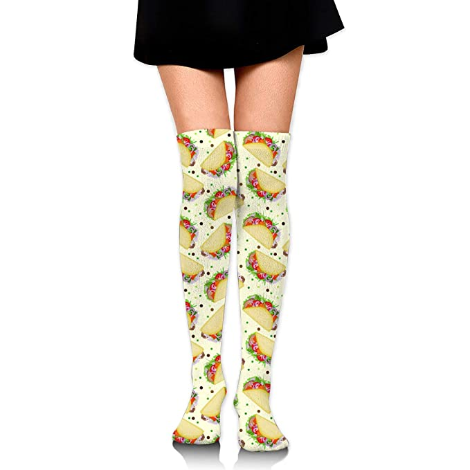 Mexican Tacos Spices Pastel Beige Womens Knee High Socks ...