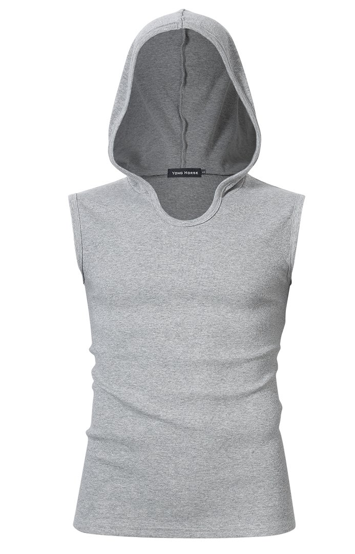 Yong Horse Men's Summer Active Wear Cotton Slim Fit Sleeveless Hoodie Tank Top (XL, Grey)