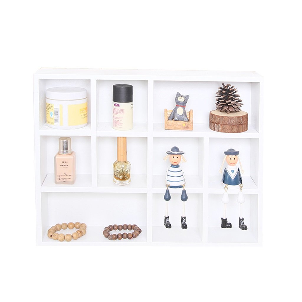 ALUS- Multi-functional Storage Racks Children's Room Decoration Solid Wood Wall Hanging Creative Lattice Background Wall Decoration Floating Frame (Color : White, Size : A)