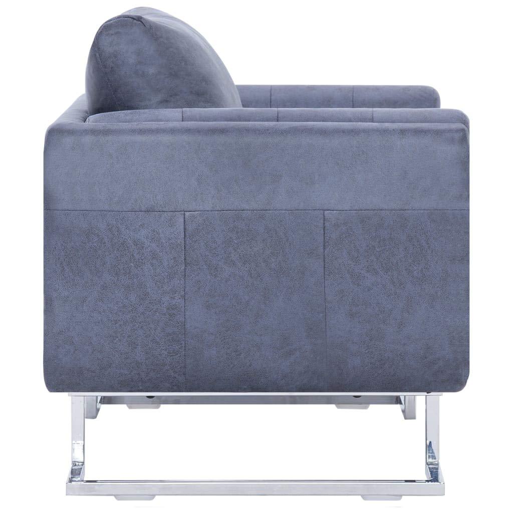 Tidyard Poltrona Cabriolet in Pelle Artificiale Scamosciata,Moderno e Robusto Poltrona Ufficio con Braccioli Grigia