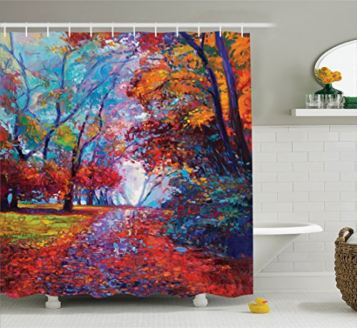 Country Decor Shower Curtain Set by Ambesonne, Colorful Fairy Paint of Park in Fall Arts View of the Earth and Trees in the Nature Art Work, Bathroom Accessories, 75 Inches Long, Multi