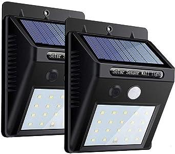 Aesy Luz Solar Jardín, 30 LED Focos Solares Exterior, Luces de Exterior con Sensor de Seguridad por Movimiento Inalámbricas y con Batería Solar, para Jardín Muros Exteriore Patios Terrazas (2 Piezas): Amazon.es:
