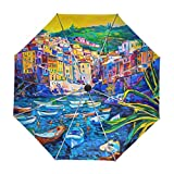 ALAZA Italy House Boat Sea Oil Painting Travel Umbrella Auto Open Close UV Protection Windproof Lightweight Umbrella