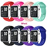 Apple watch Silicone band 38mm,8 Pack Sport Wrist Strap Bracelet Band Replacement for Apple Watch Nike+ Sport Edition Series 2 Series 1(8Pack 1# 38SM)