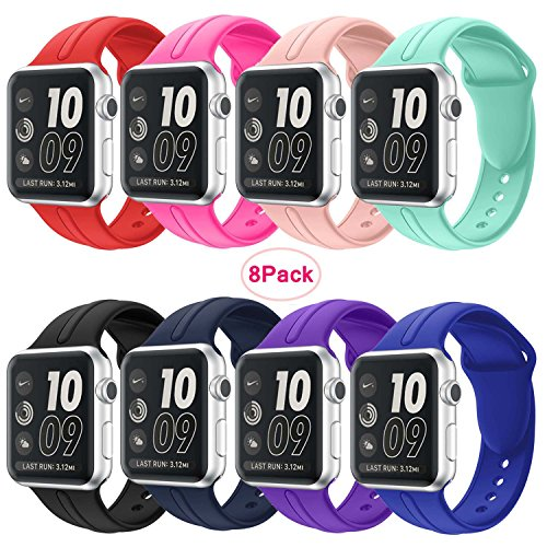 Apple watch Silicone band 38mm,8 Pack Sport Wrist Strap Bracelet Band Replacement for Apple Watch Nike+ Sport Edition Series 2 Series 1(8Pack 1# (Aqua Womens Watch Band)