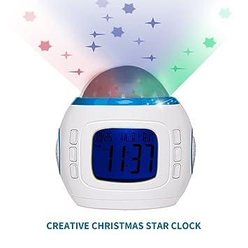 Digitaler Kinderwecker Uhr mit Farbwechsel Sternenhimmel Projektor Nachtlicht