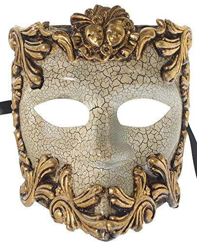 RedSkyTrader Womens Greek God Bauta Mask One Size Fits Most Gold And Off-White