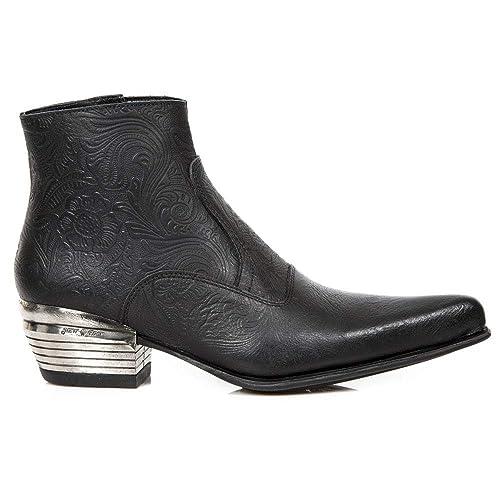 New Rock M.NW131-S1 Botas Botines Hombre Caballero Negro Cuero Piel Tacón Cowboy Oeste Vaquero Western Urbano Elegante: Amazon.es: Zapatos y complementos