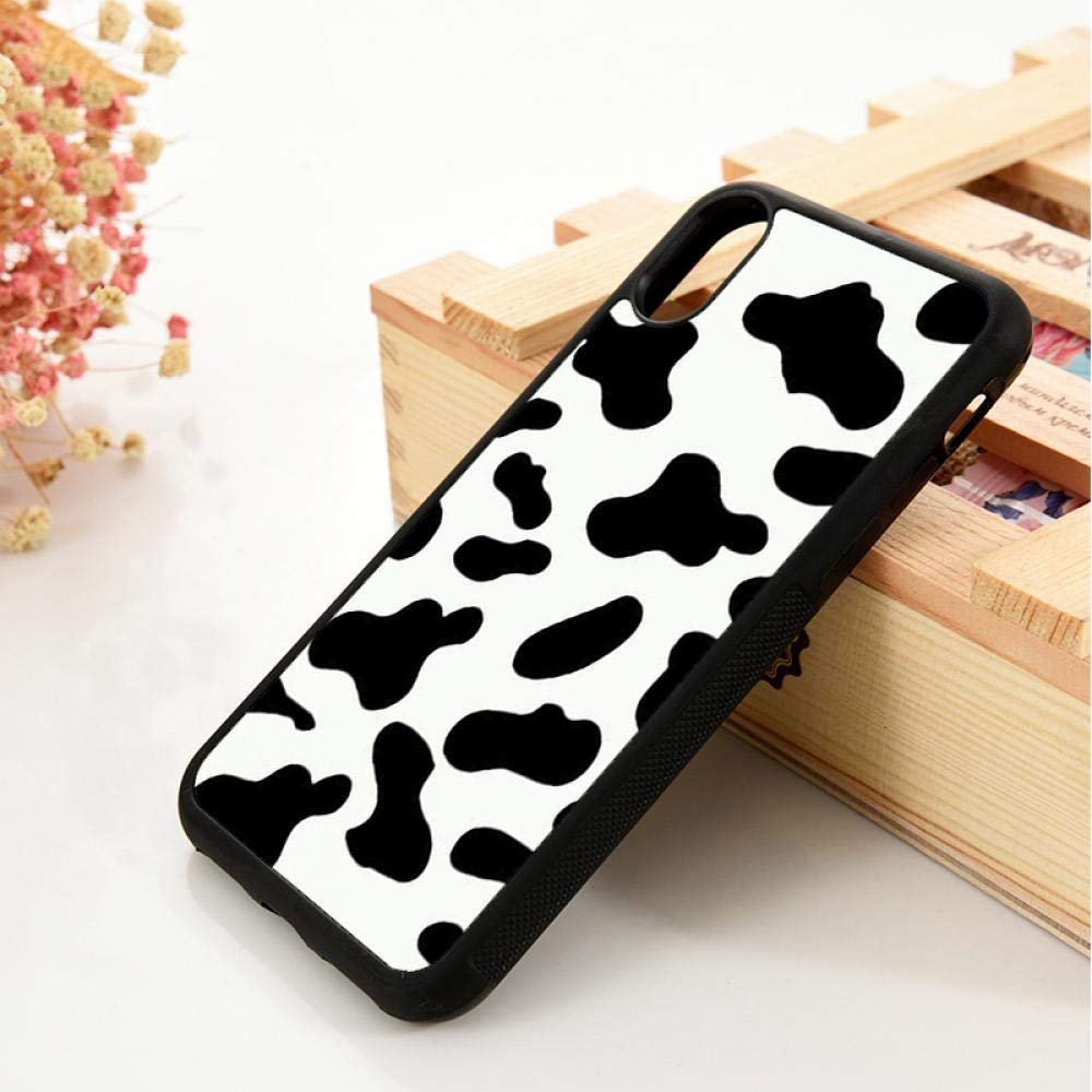 5 5S SE 6 6S Soft TPU Silicone Rubber Phone Case Cover for iPhone 7 8 Plus X Xs Max XR Cow Print Black White for iPhone 6S