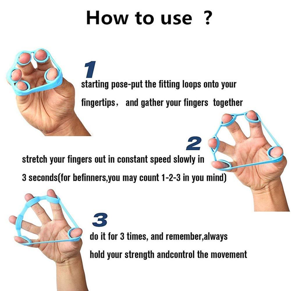 Finger Ejercitador de Mano Fuerza Extensor Trainer 3 Niveles de Resistencia F/ácil Medio Pesado Aumento JollyJelly Fortalecedores para Los Dedos Kit de Entrenamiento con Anillo de Agarre Manual