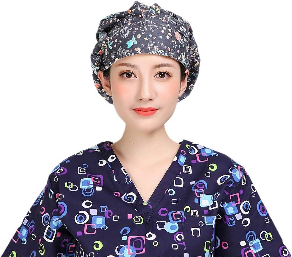 Fenical Scrub Caps Einstellbare Baumwollblumendruck-Arbeitskappe f/ür Doctor Nurse Unisex