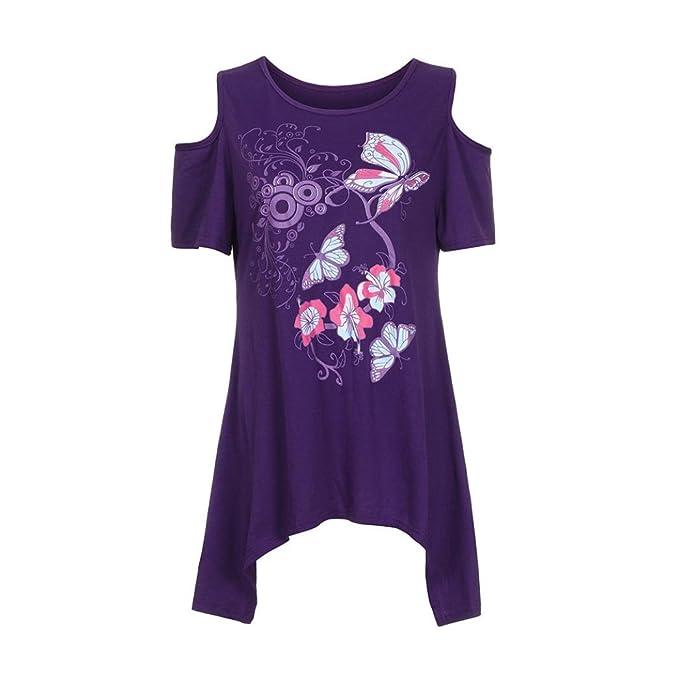 601bb44dc244 Damen Schmetterling Druck Bluse Malloom® T-Shirt Oberteile Kurzarm  Schmetterlinge Große Größe Frauen
