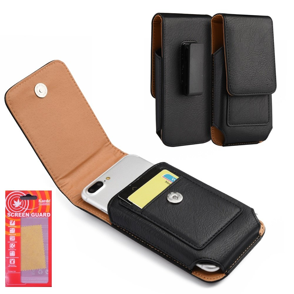 Samsung Galaxy 6 Holster-Premium Vertical PU Leather Case Holster, Belt Clip ID Card Holder Magnetic Closure Kaede [Screen Guard] for Galaxy S6