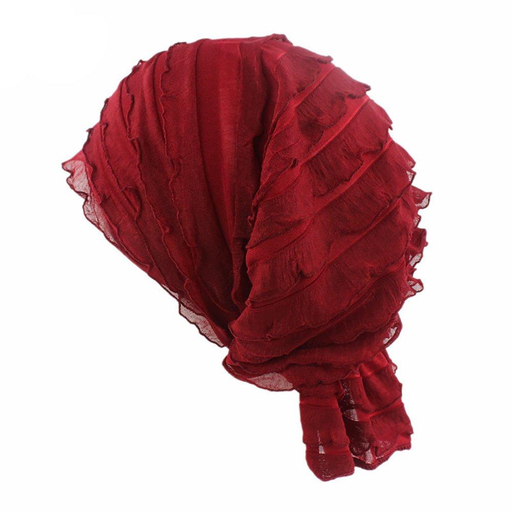 Tukistore Cappello Turbante Cappellino elasticizzato Volant Elasticizzato da donna Sciarpa pieghettata con copricapo per cappellino per chemioterapia