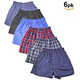 Basico Boys' Assorted Plaid Tartan Boxer 6 Packs (Large, Assorted)