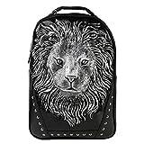 Cheap Koolertron 3D Lion Studded College Backpack PU Leather Rucksack Shoulder Bag Unisex Vivid Animal Print Backpacks for Women/Girls,Men/Boys -Back to School (White)