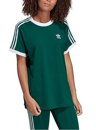 camiseta adidas 3 stripes verde mujer